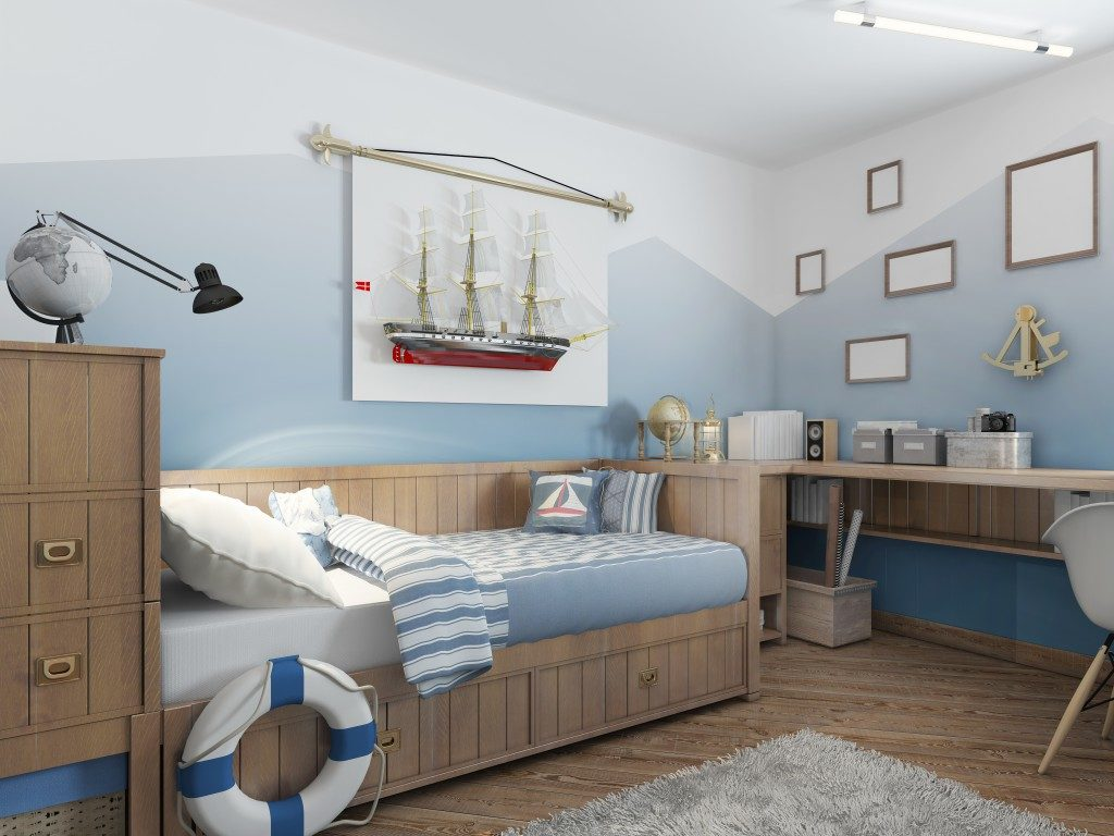 child's bedroom in light blue shades