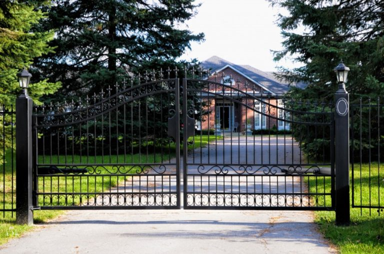 house with iron gate