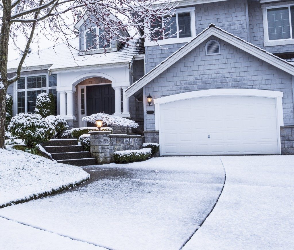 Photo of suburban home with snow on drive way, lawn, plants, trees and roof