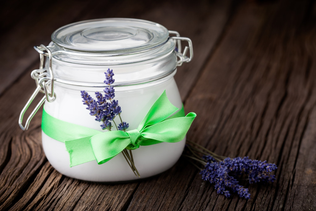 Handmade DIY natural body butter with lavender and coconut oil