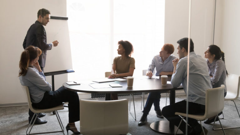 employees in a meeting